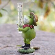 Hand Painted Frog Rain Gauge Decorative For Patio Lawn Ornaments Water Gage