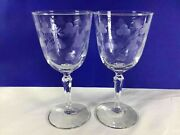 Set Of 2 Antique Mid-century Crystal Wine Glass Stemware Etched Clover Pattern