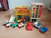 Vintage Fisher Price Little People Parking Garage With People And Cars Extraand039s