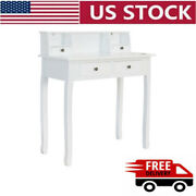 Large Storage Secretary Table Computer Desk Writing Table W/4drawers Home Office