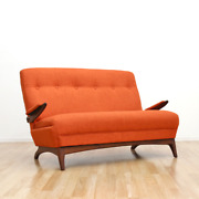 Mid Century Sofa Loveseat By Greaves And Thomas In Orange