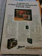 1975 Zenith Solid State Chromacolor Ii Television Tv Print Ad