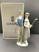 Lladro 01453 Golfing Couple - Man And Woman Golfers - With Original Box
