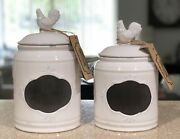 Set Of 2 Home Essentials White Ceramic Rooster Kitchen Canisters Chalk Write On