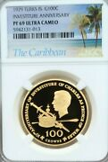 1979 Turks And Caicos Gold 100 Crowns Investiture Anniv Ngc Pf 69 Ultra Cameo Top