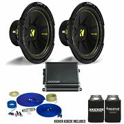 Kicker 12 Inch Bass Bundle 2 44cwcs124 Subwoofers With Cxa8001 And Amp Wire Kit