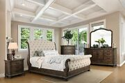 Traditional 4pcs Bedroom Cal King Size Bed Dresser Mirror Nightstand Rustic Tone