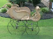Victorian Antique Wicker Baby Carriage-- In Very Good Condition