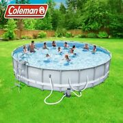 Coleman 22' X 52 Power Steel Frame Swimming Pool Set W/ Pump, Ladder And Cover