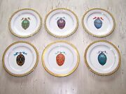Royal Gallery Gold Buffet Egg Plate Set Of 6 1991 Federated Dept Stores Inc Box