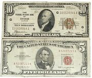 1929 Chicago 10 Brown Seal National Currency Note - 5 Red Seal Currency Note
