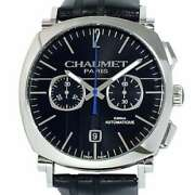 Free Shipping Pre-owned Chaumet Dandy Chronograph W11290-30a Black Dial