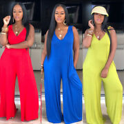 New Fashion Women Solid Color V Neck Sleeveless Casual Loose Wide Legs Jumpsuits