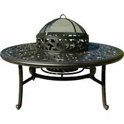 Darlee Series 80 52-inch Patio Wood Burning Fire Pit Chat Table Ice Bucket