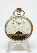 Hebdomas Swiss 8 Days Pocket Watch Beautiful Decorated With Lion And Pyramids