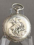Silver Ladies Cylinder Pocket Watch Decorated With St.george Very Beautiful