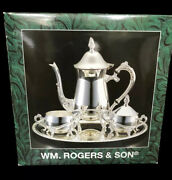 Nos Wm Rogers And Son Silverplated 4 Pc Coffee Set