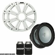 Kicker Two 12 Inch Led Marine Subwoofers In White 2 Ohm Bundle 4 Ohm Each