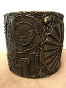 Vintage Mcm Adrian Pearsall Abstract Brutalist Sculpted Bronze Resin Drum Table