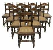 Antique Chairs Dining Sidechairs 10 French Louis Xiii Style Walnut Cane1800and039s