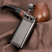 Antique Style Lift Arm Tobacco Pipe Gas Lighter With Tamper And Pick Black