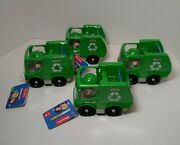 Fisher Price Little People Recycle Truck Green Dump Truck Lot Of 4 New
