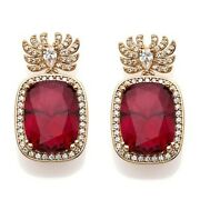 Hsn Jean Dousset Cushion And Round Ruby And Zircon Dnagle Earrings Sold Out 599