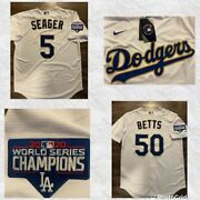 Los Angeles Dodgers Gold Outline World Series Jersey -seager 5 Or Betts 50