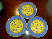 Furio Home Made In Italy Set Of 3 Soup/salad Bowls Yellow Blue Tulip Guc