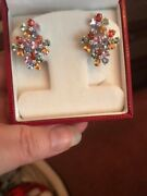Pair 18ct White Gold Coloured Sapphire Diamond Floral Cluster Stud Earrings