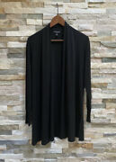 Eileen Fisher 100 Silk Cardigan Sweater Slits Size Xs Black Solid Open Front