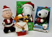 Gemmy Peanuts Christmas Santa Charlie Brown And 2 Snoopy And Memory Lane Doghouse
