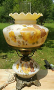 Vintage Hedco 3004 Floral Gone With The Wind Hurricane Lamp