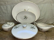Edwin Knowles Lot Of 7 Serving Pieces Forsythia Usa Platters Covered Bowl