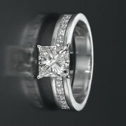 1.7 Carat Princess And Accents Diamond Ring D Si1 14k White Gold Channel Set Prong