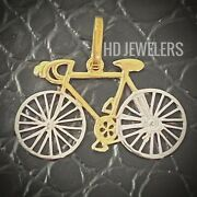 Solid 14kt Gold Bicycle Charm Two Tone Italian White Yellwe Gold Bike Necklace