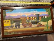 Original Oil Painting By Don Aceto Artist Signed Lionel Train Colors Whimsical