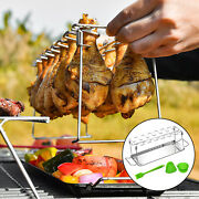 Portable Chicken Wing Leg Holder Rack Barbecue Bbq Grill Rack With Drip Pan