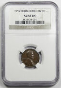 1955/55 Doubled Die Obverse Lincoln Wheat Cent Penny Coin Ngc Au55 Bn Choice Au+