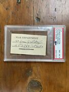 General George Patton Hand Signed Wwii Cut Autograph Auto Psa 8 War Department