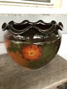 Weller Pottery Louwelsa Signed Jardiniere Floral Ruffled Rim Floral Brown Gloss