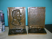 Antique Abraham Lincoln 2nd Inaugural Speech Bookends Solid Bronze By Griffoul