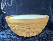 Longaberger 2002 13 Round Bowl Basket And Hard Plastic Protector And Lid