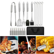 20pc Bbq Grill Tool Kit Spatula Tongs Brush Great Gift Barbeque Set With Bag