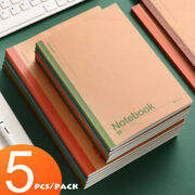 5pcs/pack Kraft Paper Cover Journals School Notebook Lined Paper Writing Diary