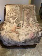 Beautiful Tapestry Made In France With People And Dog 56 By 36 Inches
