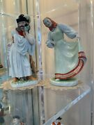 Two Herend Hand Painted Porcelain Figurines In Vintage Hungrian Customes 12tall