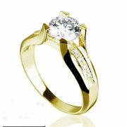 1 1/4 Ct Solitaire Round Cut + Accents Diamond 14k Yellow Gold Wedding Ring Nib
