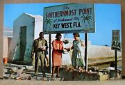 Key West Fl Circa 1960and039s - Southernmost Point - Conch Shell Sellers - Old Signs