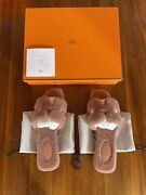 Hermes Oran Shearling Sandals Rose Pink Size 37 Bnib Sold Out Rare